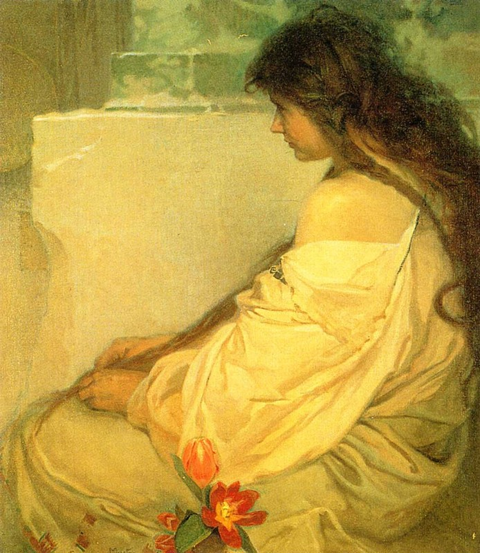 'Girl with Loose Hair and Tulips', Oil by Alphonse Maria Mucha