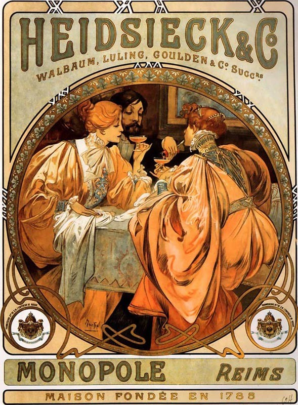 'Heidsieck and Co', Oil by Alphonse Maria Mucha