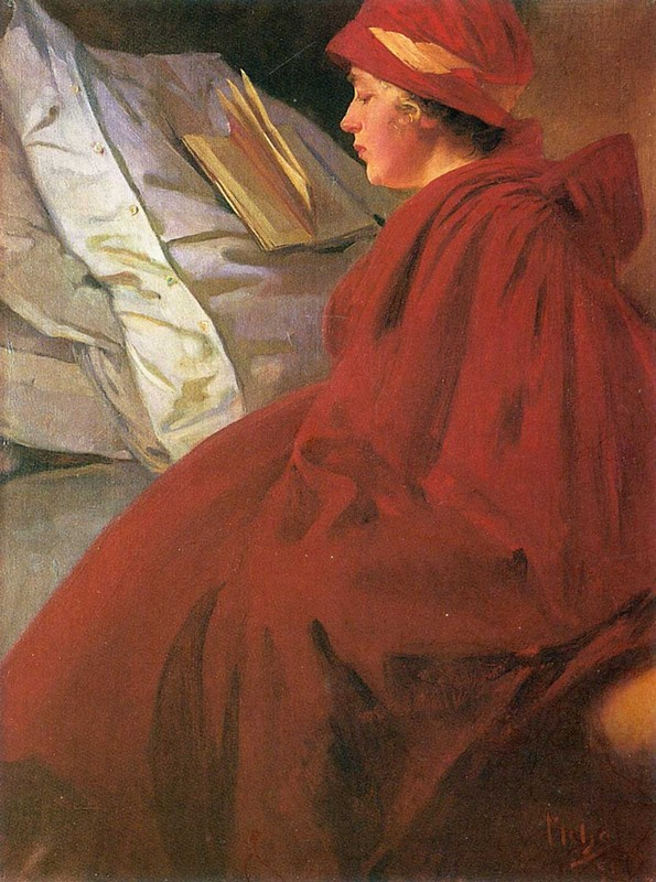 'Red Coat', Oil by Alphonse Maria Mucha