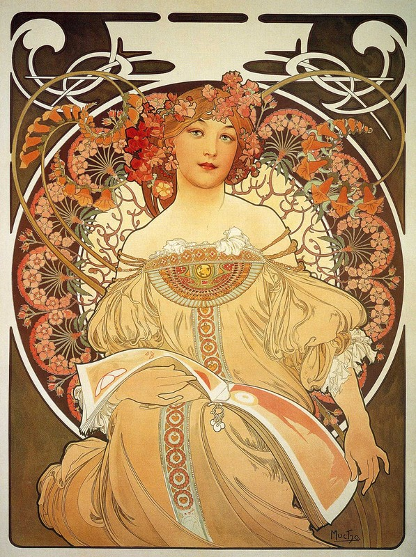'Reverie', Oil by Alphonse Maria Mucha