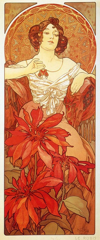 'Ruby', Oil by Alphonse Maria Mucha