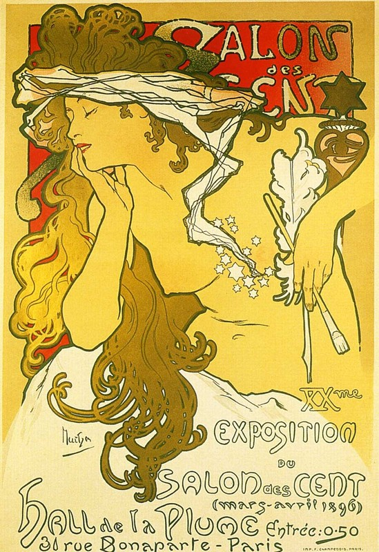 'Salon des Cent, 1896', Oil by Alphonse Maria Mucha
