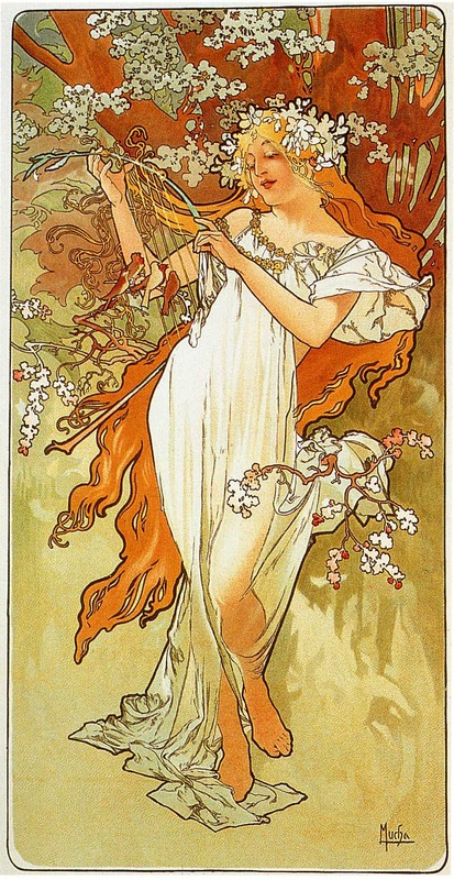 'Spring 1896', Oil by Alphonse Maria Mucha