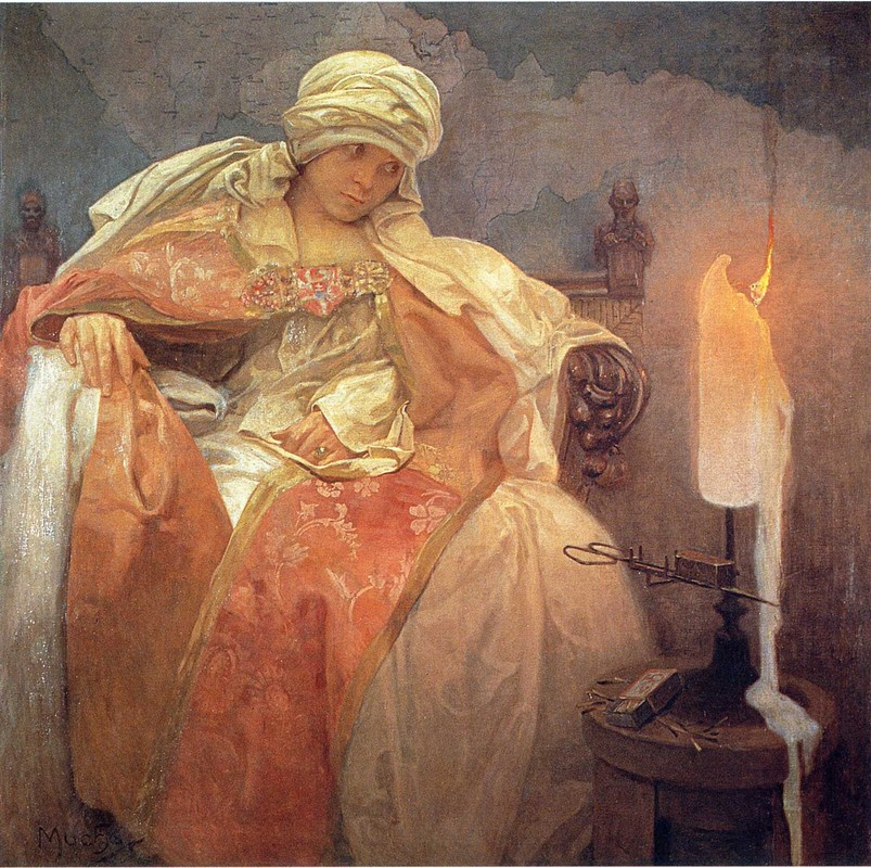 'Woman with a Burning Candle', Oil by Alphonse Maria Mucha