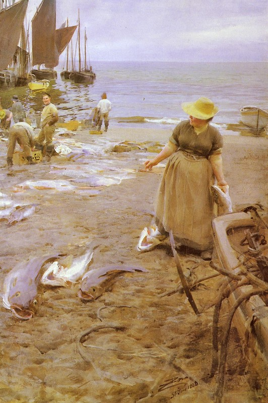 Fiskmarknad I St. Ives by Anders Zorn (1860-1920, Sweden) | Famous Paintings Reproductions | WahooArt.com