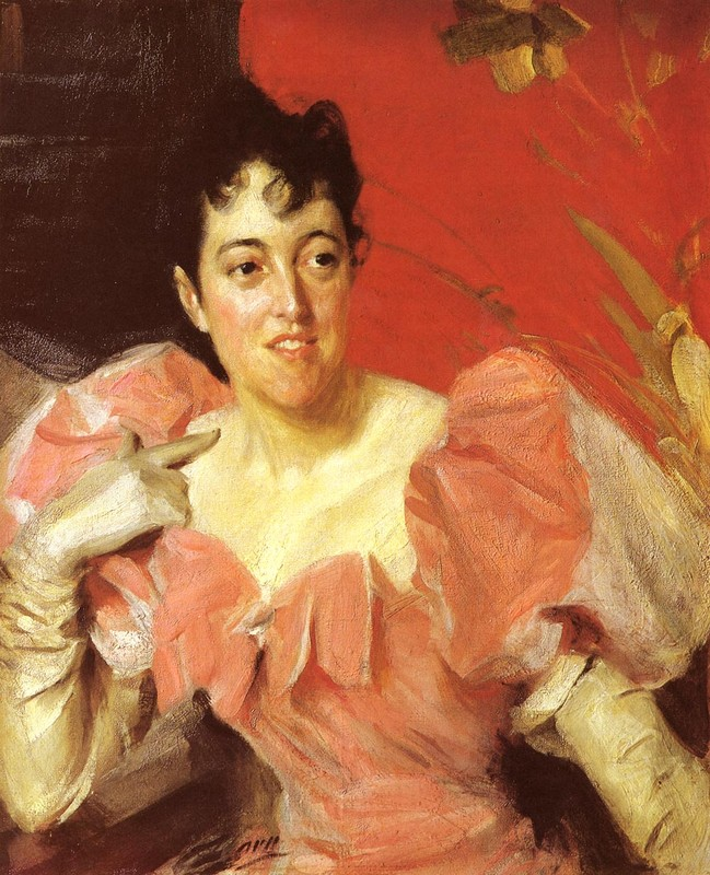 'Mrs. Walter Bacon', Oil by Anders Zorn (1860-1920, Sweden)