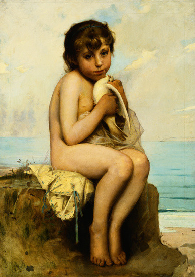 'Nude Child with Dove', Oil by Bazile Perrault (1832-1908, France)