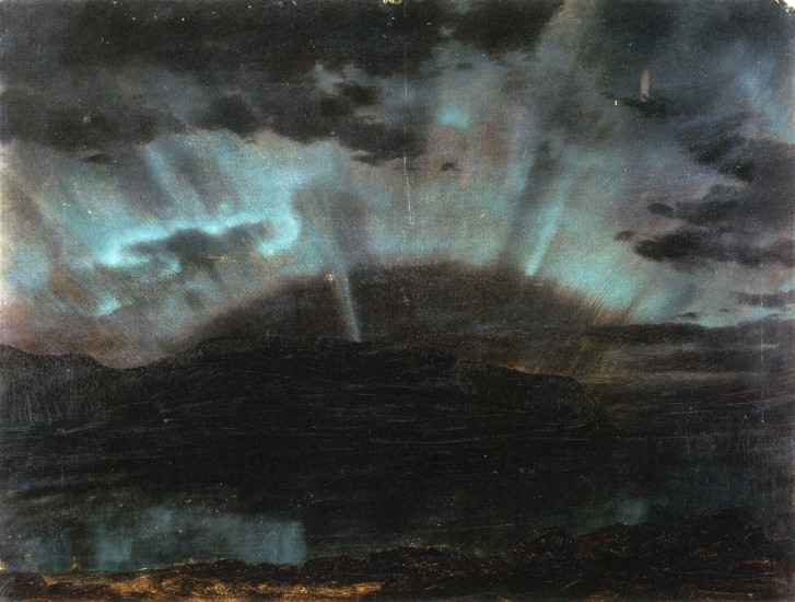 Aurora Borealis, Mt. Desert Island, from Bar Harbor, Maine by Frederic Edwin Church (1826-1900, United States) | Painting Copy | WahooArt.com
