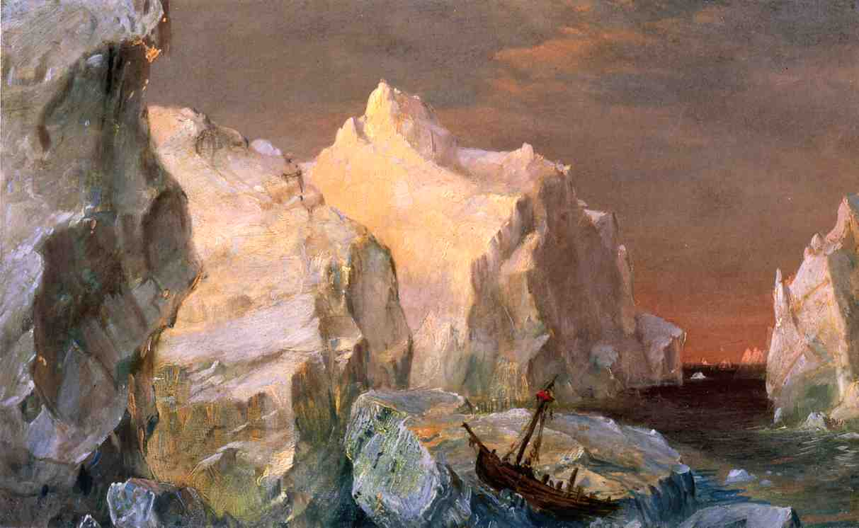 Icebergs and Wreck in Sunset (aka Study for The Icebergs) by Frederic Edwin Church (1826-1900, United States) | WahooArt.com