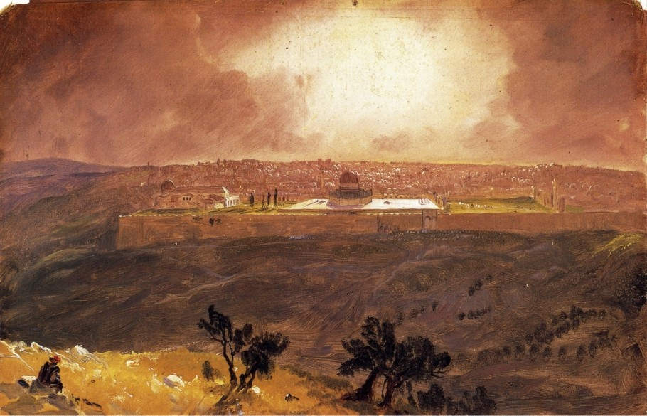 'Jerusalem from the Mount of Olives 1', Oil by Frederic Edwin Church (1826-1900, United States)