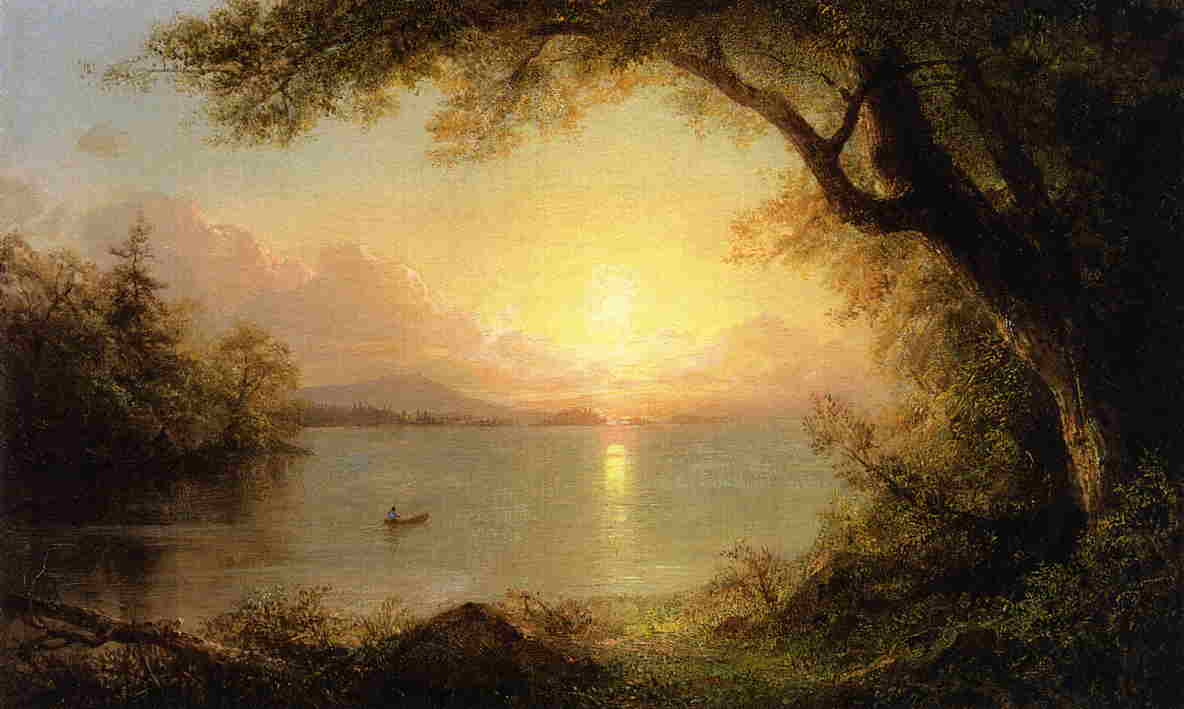 Lake Scene (aka Landscape in the Adirondacks) by Frederic Edwin Church (1826-1900, United States) | Oil Painting | WahooArt.com
