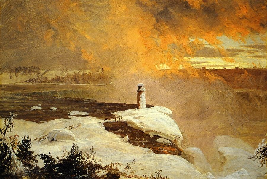 Niagara Falls from Goat Island, Winter by Frederic Edwin Church (1826-1900, United States) | Oil Painting | WahooArt.com