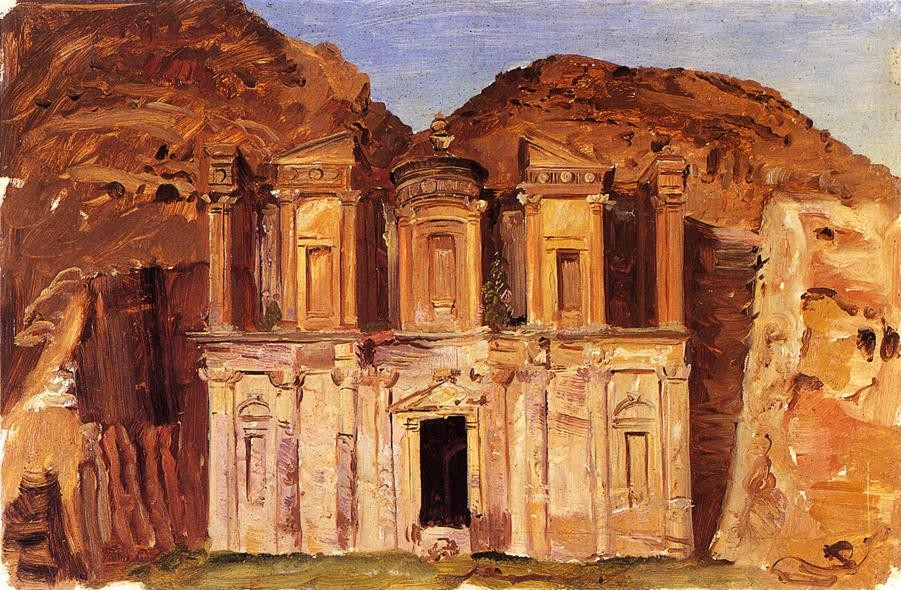 View of Ed Deir, Petra, Jordan by Frederic Edwin Church (1826-1900, United States) | Famous Paintings Reproductions | WahooArt.com