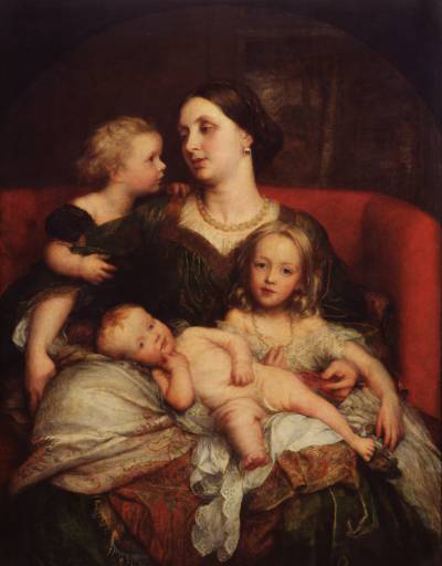 'Mrs George Augustus Frederick Cavendish-Bentinck and her Children', Oil by George Frederic Watts (1817-1904, England)
