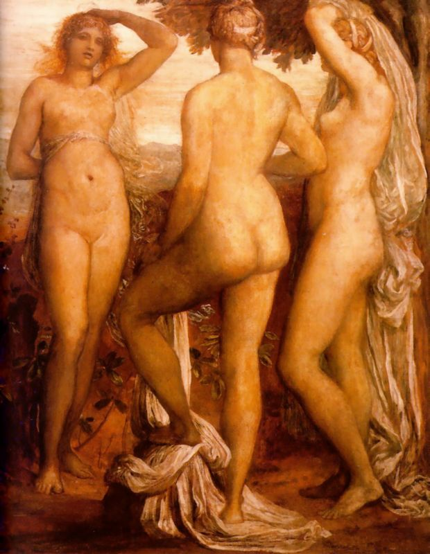 'The Three Graces', Oil by George Frederic Watts (1817-1904, England)