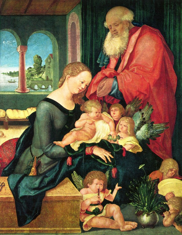 'Holy family with five angels', Oil by Hans Baldung (1484-1545, Germany)