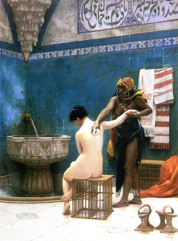 'Moorish Bath', Oil by Jean-Léon Gérôme (1824-1904, France)