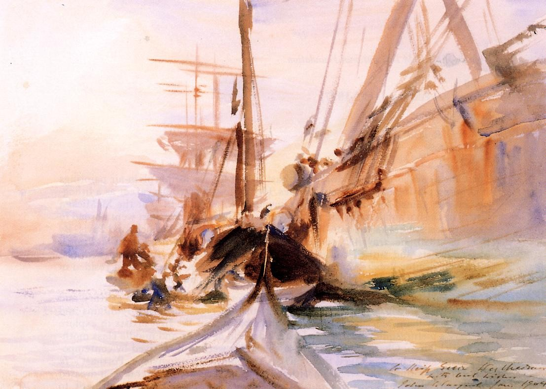 'Unloading Boats, Venice', Oil by John Singer Sargent (1856-1925, Italy)