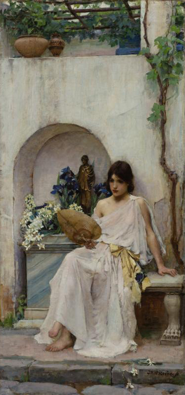 'Flora', Oil by John William Waterhouse (1849-1917, Italy)