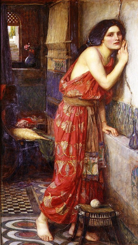 'Thisbe (aka The Listener)', Oil by John William Waterhouse (1849-1917, Italy)