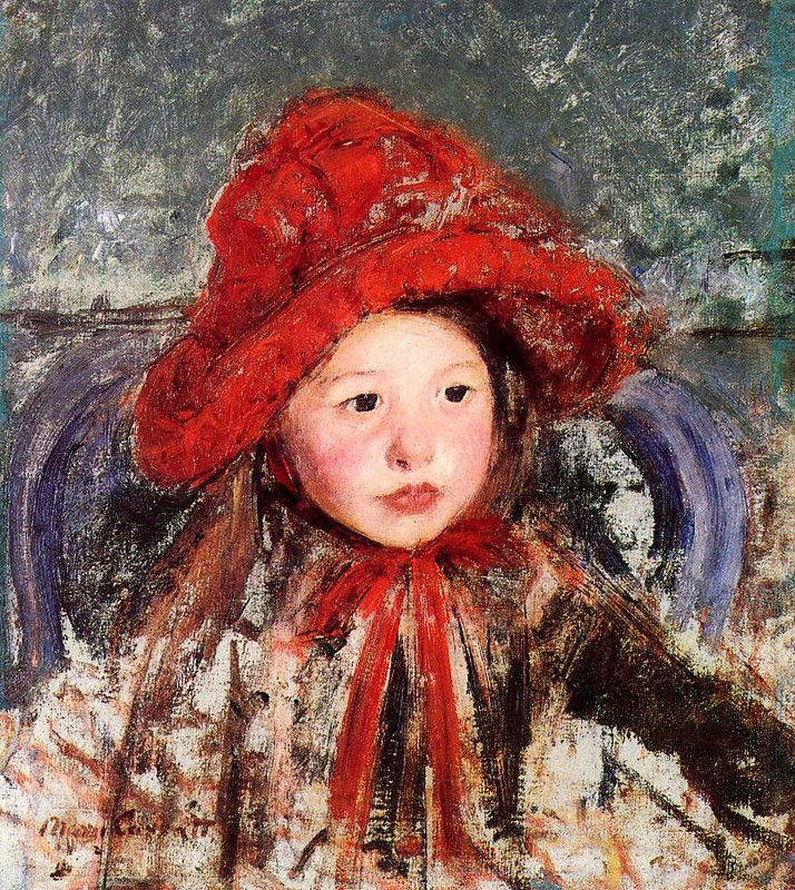 'Little Girl in a Large Red Hat', Oil by Mary Stevenson Cassatt (1844-1926, United States)