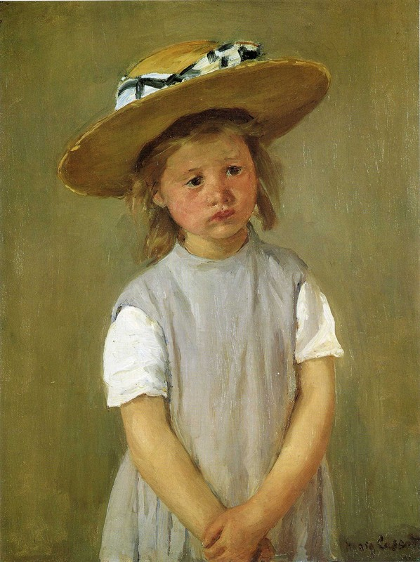 'Little girl in a straw hat', Oil by Mary Stevenson Cassatt (1844-1926, United States)