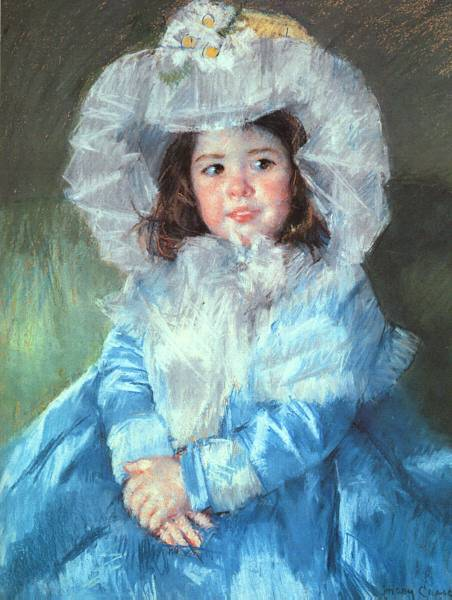 'Margot in Blue', Oil by Mary Stevenson Cassatt (1844-1926, United States)