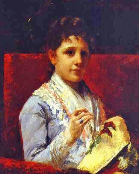 'Mary Ellison Embroidering', Oil by Mary Stevenson Cassatt (1844-1926, United States)