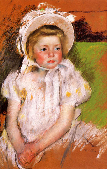 'Simone in a White Bonnet', Oil by Mary Stevenson Cassatt (1844-1926, United States)