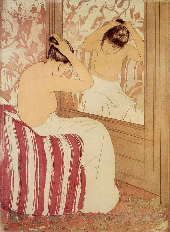 'The Coiffure study', Oil by Mary Stevenson Cassatt (1844-1926, United States)