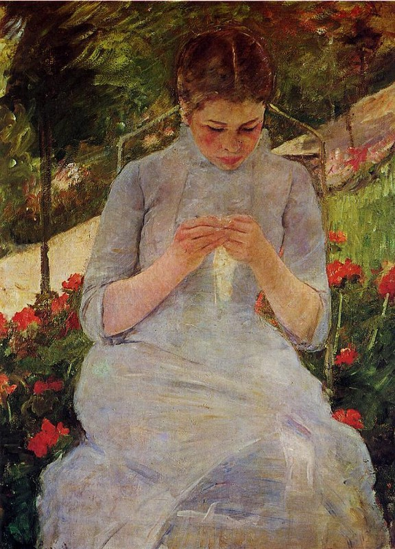 'Young Woman Sewing in a Garden', Oil by Mary Stevenson Cassatt (1844-1926, United States)