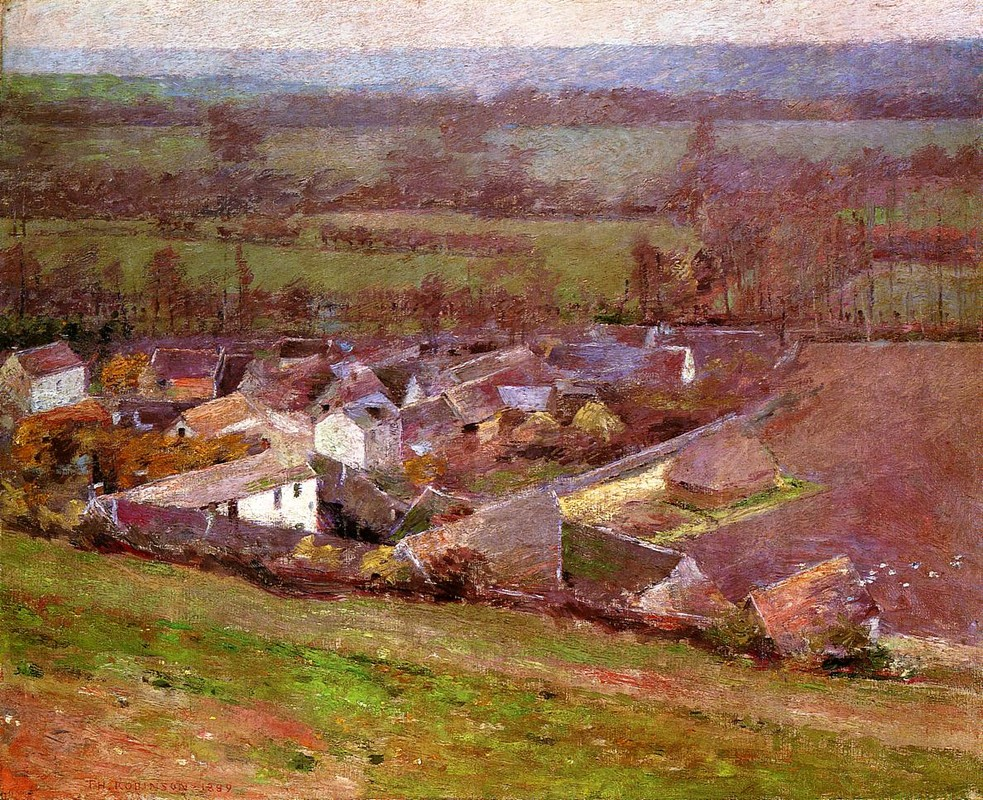 Bird`s Eye View.Giverny by Theodore Robinson (1852-1896, United States) | Museum Quality Reproductions | WahooArt.com