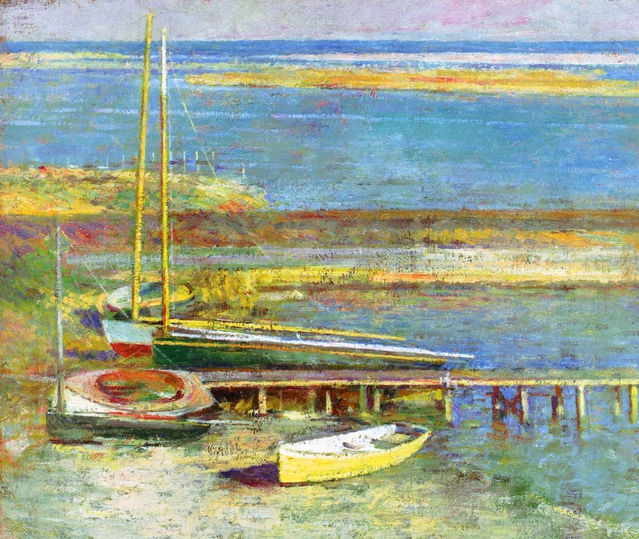 Boats at a Landing 1 by Theodore Robinson (1852-1896, United States) | Painting Copy | WahooArt.com