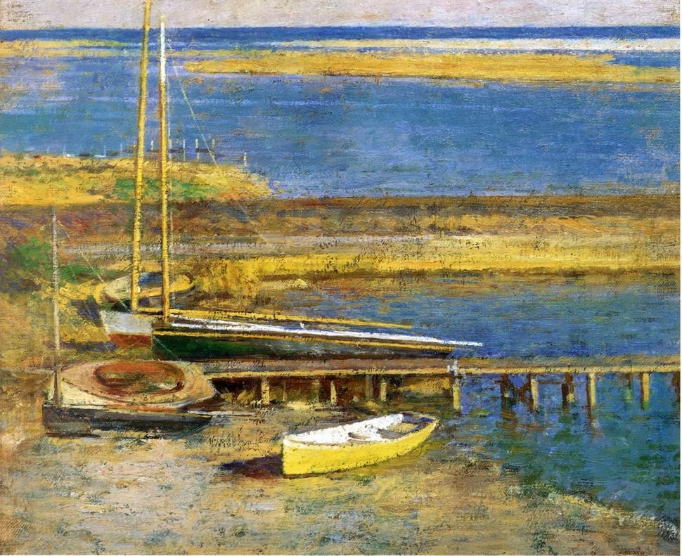 Boats at a Landing by Theodore Robinson (1852-1896, United States) | Oil Painting | WahooArt.com