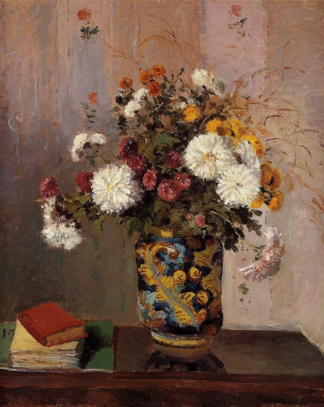 'Bouquet of Flowers. Chrysanthemums in a China Vase', Oil by Theodore Robinson (1852-1896, United States)