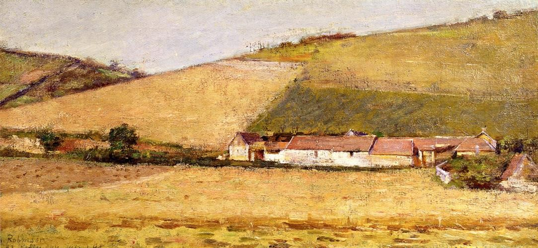 Farm Among Hills by Theodore Robinson (1852-1896, United States) | Oil Painting | WahooArt.com