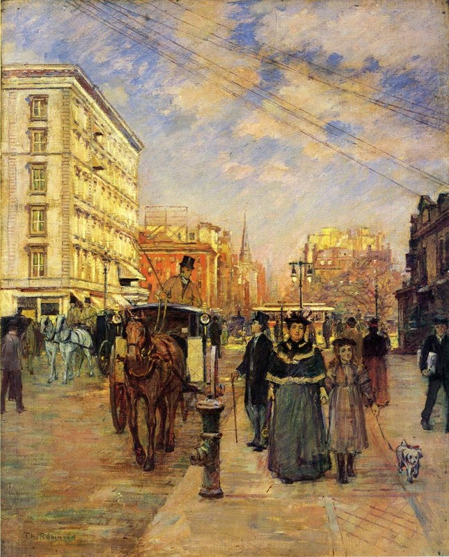 'Fifth Avenue at Madison Square', Oil by Theodore Robinson (1852-1896, United States)