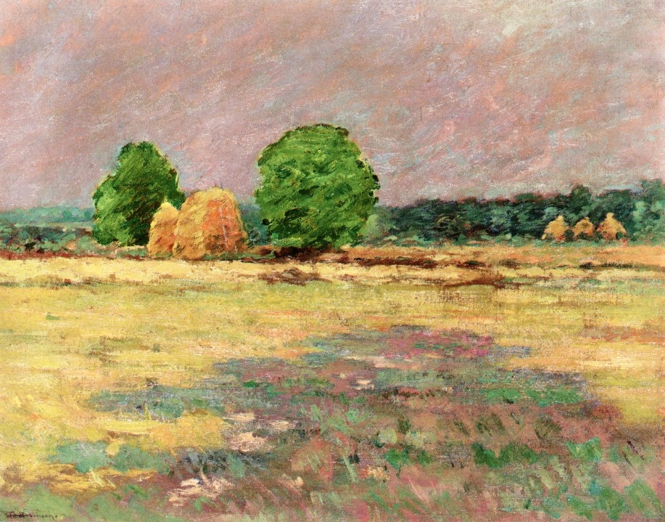 'Grain Field, N. J.', Oil by Theodore Robinson (1852-1896, United States)