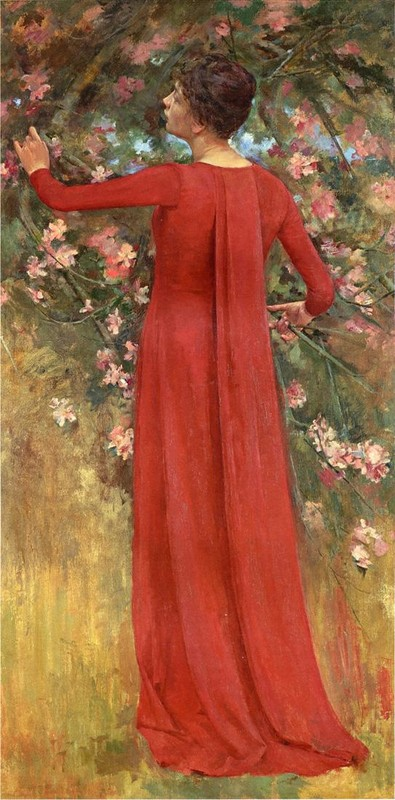 'The Red Gown (aka His Favorite Model)', Oil by Theodore Robinson (1852-1896, United States)