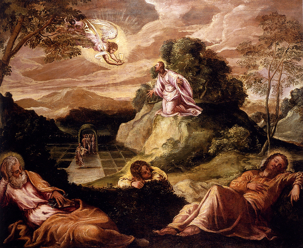 Agony In The Garden by Tintoretto (Jacopo Comin) (1518-1594, Italy) | Oil Painting | WahooArt.com