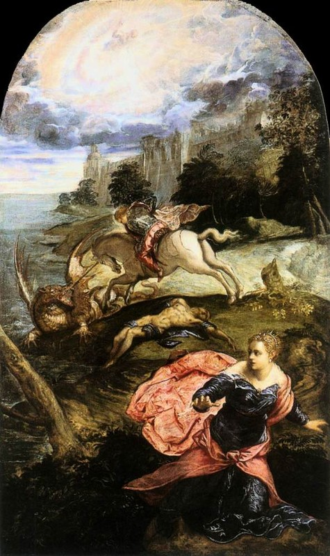 'St George and the Dragon', Oil by Tintoretto (Jacopo Comin) (1518-1594, Italy)