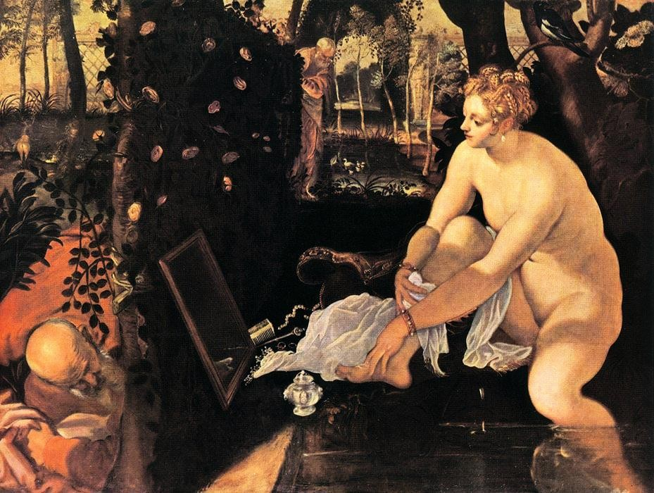 'Susanna and the Elders', Oil by Tintoretto (Jacopo Comin) (1518-1594, Italy)