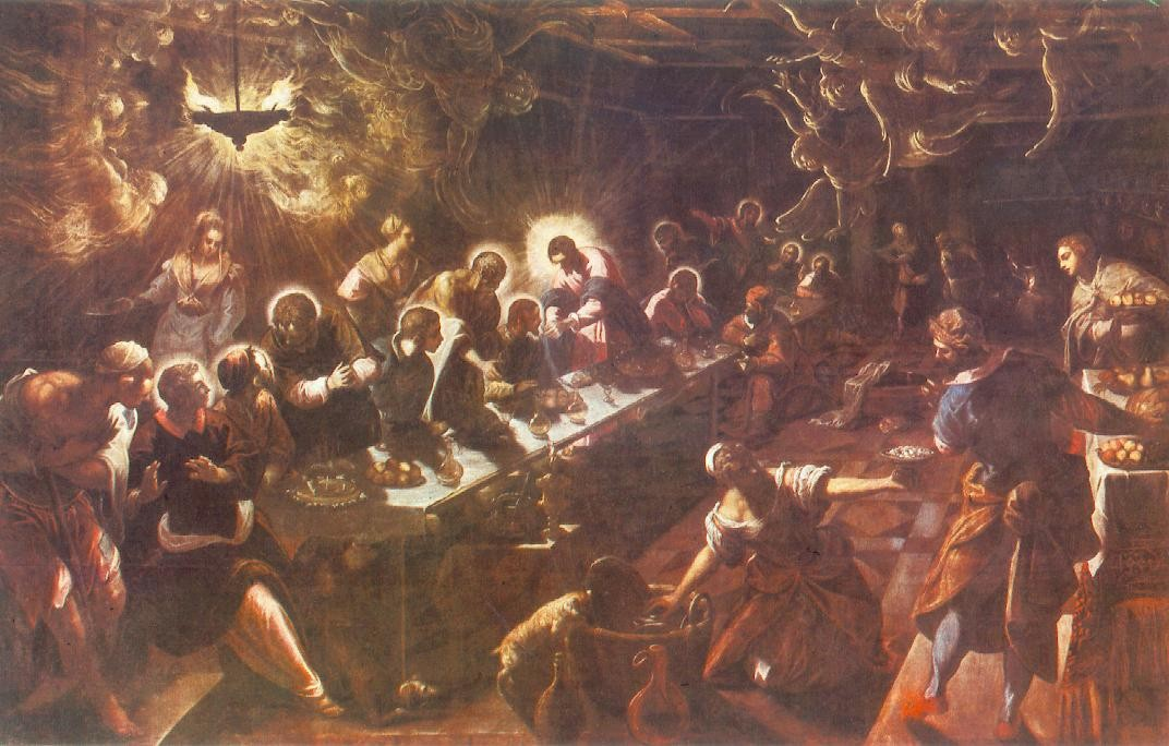 'The Last Supper', Oil by Tintoretto (Jacopo Comin) (1518-1594, Italy)