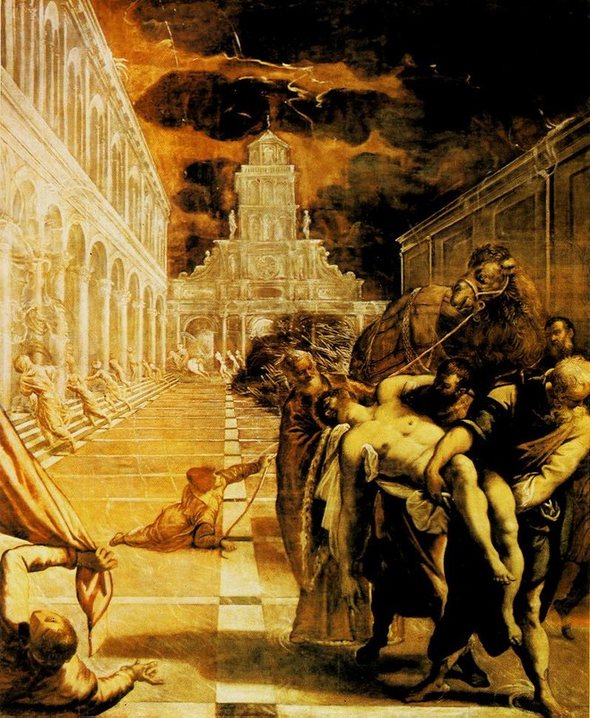 'The Stealing of the Dead Body of St. Mark', Oil by Tintoretto (Jacopo Comin) (1518-1594, Italy)