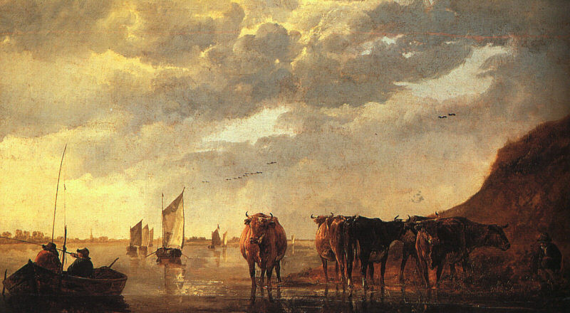 Herdsman with Cows by a River by Aelbert Cuyp (1620-1691, Netherlands) | Painting Copy | WahooArt.com