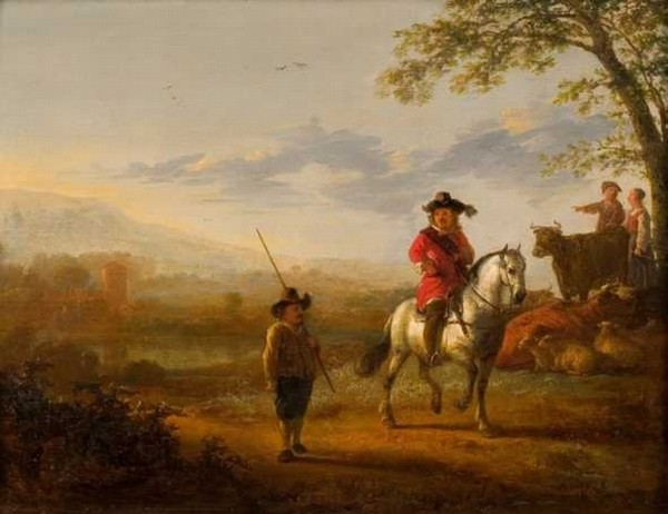 'Landscape with rider, shepherds and livestock', Oil by Aelbert Cuyp (1620-1691, Netherlands)