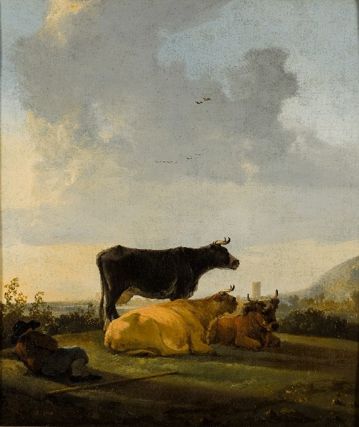 'Landscape with three cows and a shepherd boy', Oil by Aelbert Cuyp (1620-1691, Netherlands)