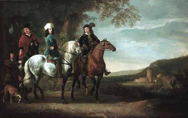 Landscape with three riders by Aelbert Cuyp (1620-1691, Netherlands) | Art Reproduction | WahooArt.com