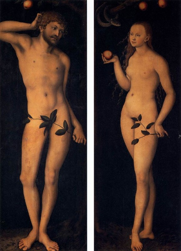 Adam and Eve by Lucas Cranach The Elder (1472-1553, Germany) | Painting Copy | WahooArt.com