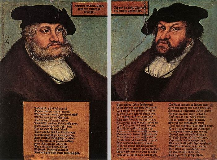 Portraits of Johann I and Frederick III the wise, Electors of Saxony by Lucas Cranach The Elder (1472-1553, Germany) | Painting Copy | WahooArt.com